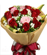 10 Red roses,10 Pink roses,Green Leaves