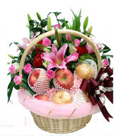 Morningstar lily. Purple Son of Heaven. Cockscomb. Ye Cai. Handbasket. Satin ribbon. Apple