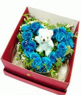 20 Blue roses,bears,Gift box included