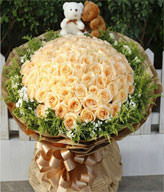 99 champagne roses with gift box, Two cute bears