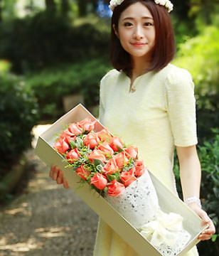 19 pink roses with gift box