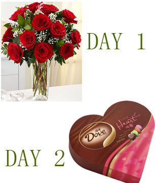 Two Days Delivery,Day 1,12 Roses with Vase.Day 2,Cholocate