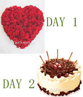 Two day delivery,Day 1,99 Red roses. Day 2,Cake