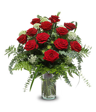 Wishing You Love: 12 red roses (Vase included)
