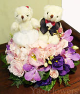 11 rose,8 pink and purple platycodon grandiflorum,with 2 cute bears