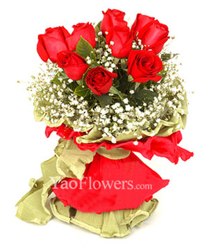 9 Red roses with baby's breath