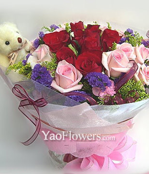 9 Red roses,9 Pink roses and A bear