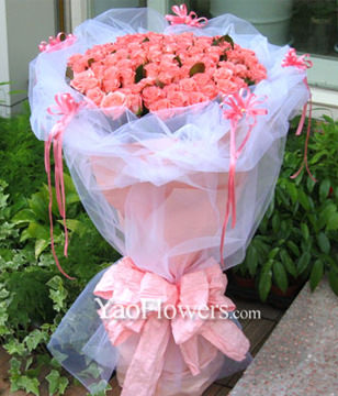 99 Pink roses with A class
