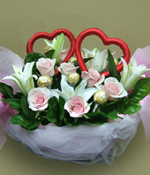 8 roses,3 Lilium, Cholocates