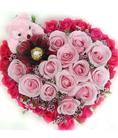 18 red roses,12 pink rose,hearted-shape