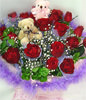 20 Red roses,a pair of bear