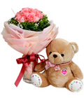 12 Pink Roses Hand Bouquet With Bear