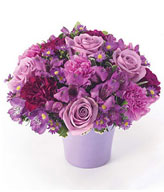 Arrangement of purple and lavender roses, carnations in a purple cache pot