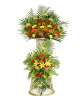Lilies,Daisies,Green Leaves,Two-tier basket,The most popular openning basket in China