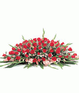 Table Basket-99 Red Roses,30 pink gladiolus,open-herding