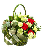 8 Red carnations,18 yellow carnations,green leaves,basket