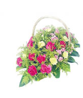 18 Peach Carnations,13 Yellow carnations,15 Mixed Carnation,Basket