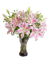 6 Pink LIlies,Green Leaves,Vase included