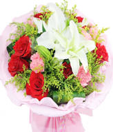9 Red roses,9 Pink Carnations,1 white lily