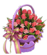 32 deep pink roses,18 light pink roses ,green leafy fullness