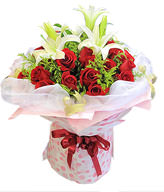 19 red roses, 2 White Lilium