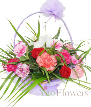 26 Mixed Carnation,1 white lily,Green leaves,Basket