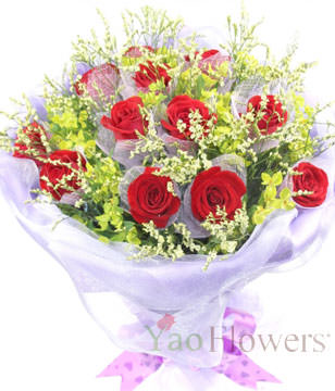 12 red roses individually wrapped , Crystal Grass