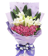 26 purple roses , four Lilium lily , green leafy interleaved