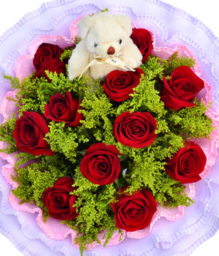 11 red roses, a Bear