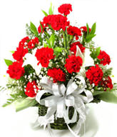 36 red carnations, 2 perfume lilies, the serissa fetida, the green leaf is plentiful