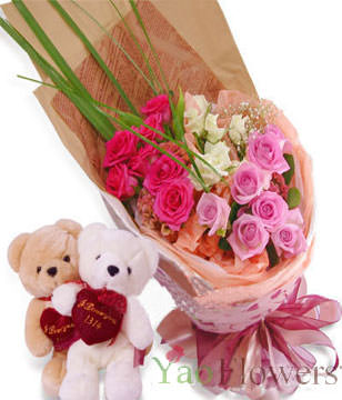 7 white roses, 7 pink roses  , 7 red roses , two Bear