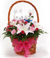 Basket included,16 red roses, 9 pink roses , 3 lilies , a pair of rabbits, green leafy fullness