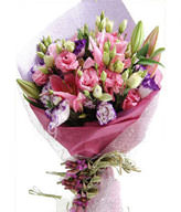 19 Pink Carnations,2 Pink Lilies,Green Leaves