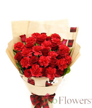 21 Red Carnations,11 Red Roses,Green Leaves