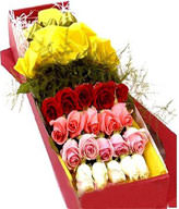 20 Mixed Roses,Green Leaves,Gift Box Included