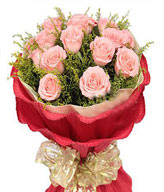 11 Pink Roses,Green Leaves