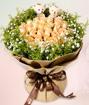19 champagne roses gift box,Two cute bears