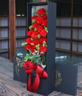 19 Red Carnations in a box