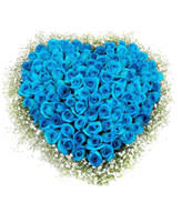 99 blue roses around baby's breath,this is heart shape