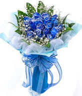 11 blue roses with baby's breath,