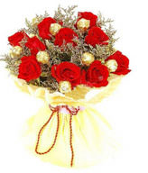 11 red roses with 9 chocolates