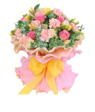 12champagen roses or carnations,9pink roses with green foliages