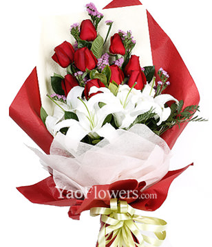 9 red roses,2 white lilies