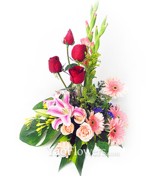 4 red roses,4 champagne roses,4 pink african daisy ,2 pink lilies