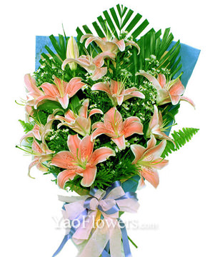 8 pink lilies