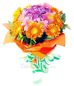 18 golden yellow daisies ,12 pink daisies, 10 carnations