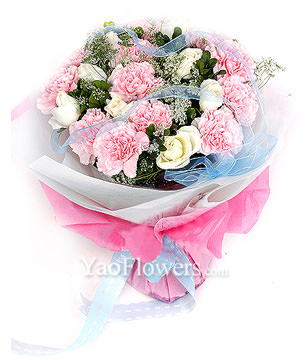 12 pink carnations,9 white roses