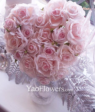 21 Pink Roses with heart-shaped