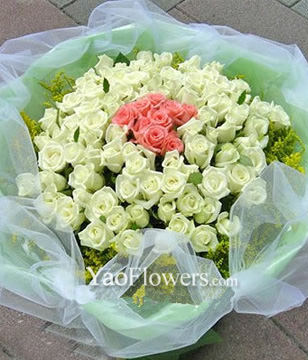 55 White roses,11 Pink roses
