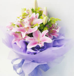 9 pink lilies with green foliages